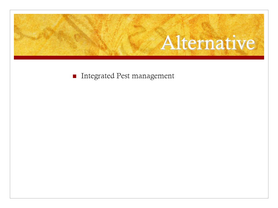 Alternative Integrated Pest management