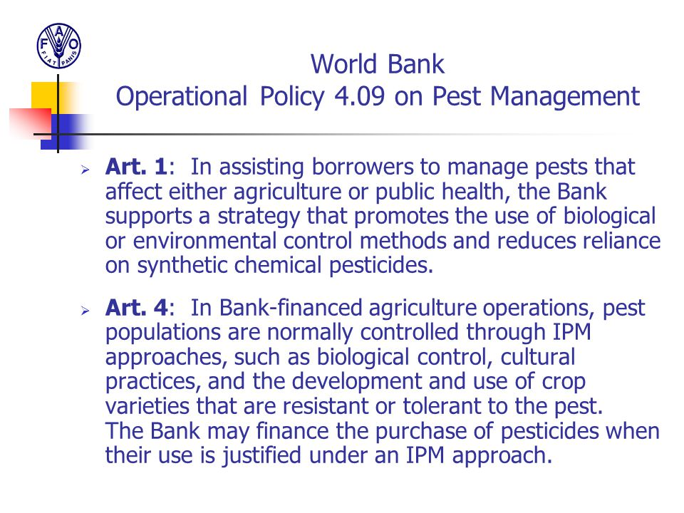World Bank Operational Policy 4.09 on Pest Management