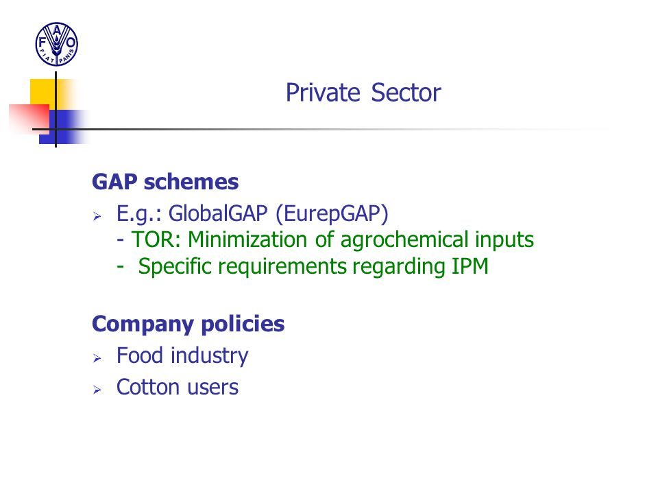 Private Sector GAP schemes
