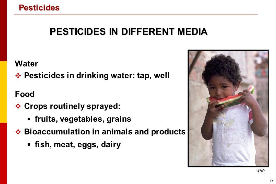 PESTICIDES IN DIFFERENT MEDIA
