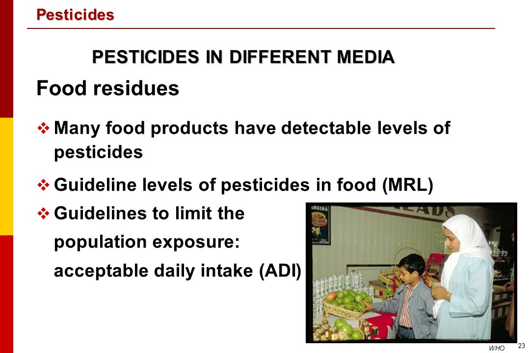 Food residues PESTICIDES IN DIFFERENT MEDIA