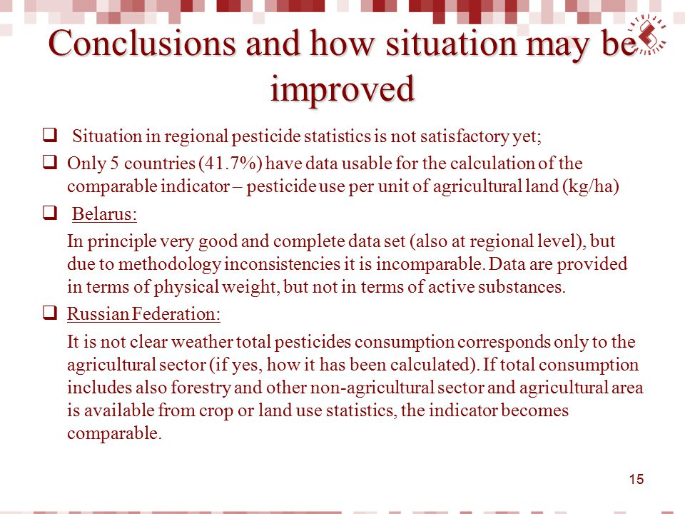 Conclusions and how situation may be improved