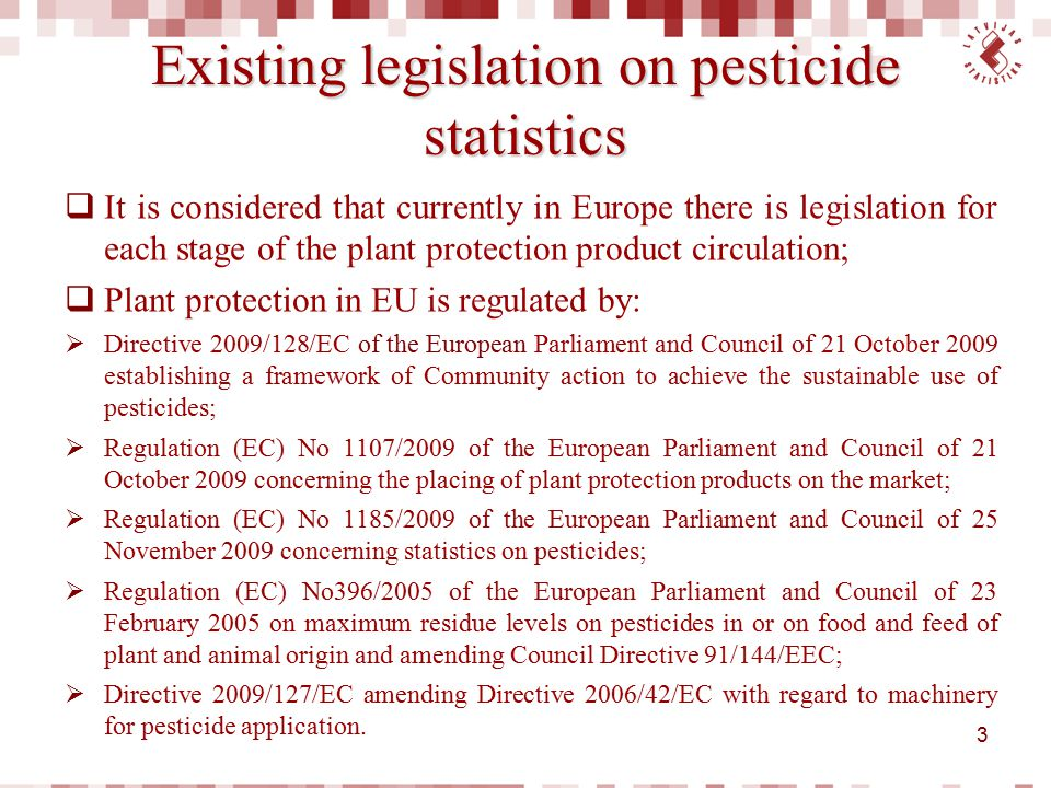 Existing legislation on pesticide statistics