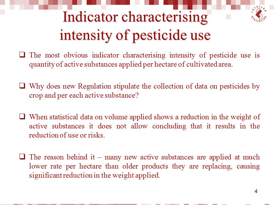 Indicator characterising intensity of pesticide use