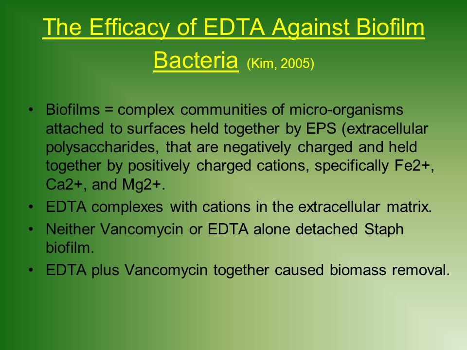 The Efficacy of EDTA Against Biofilm Bacteria (Kim, 2005)
