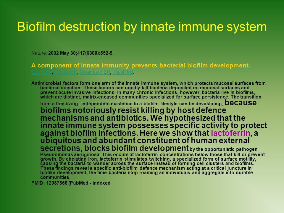 Biofilm destruction by innate immune system