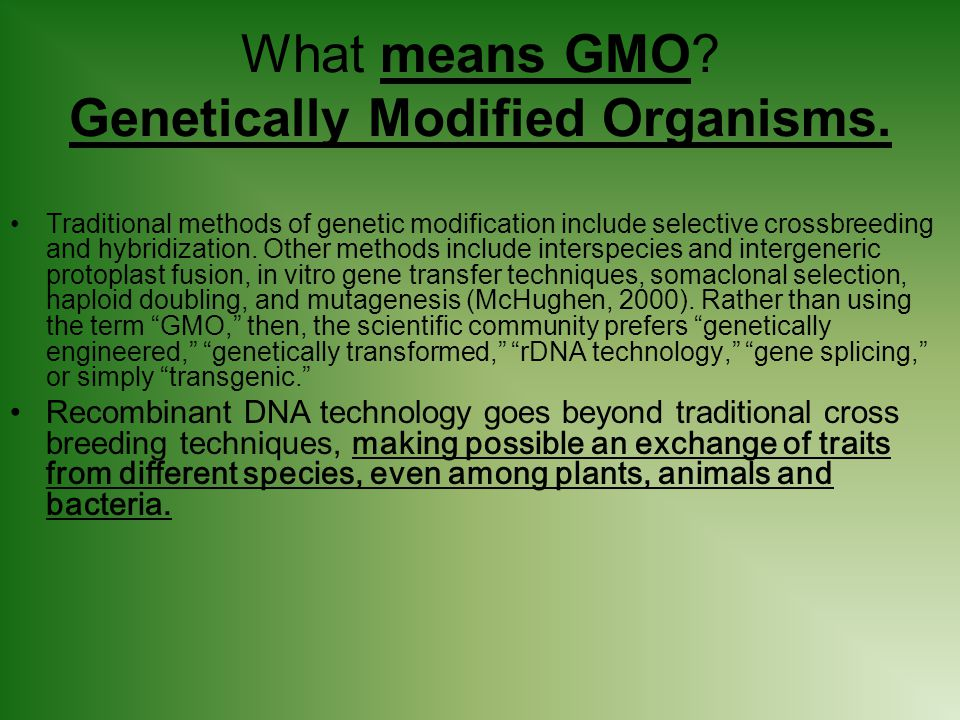 What means GMO Genetically Modified Organisms.