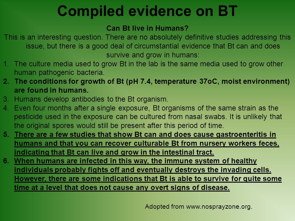Compiled evidence on BT