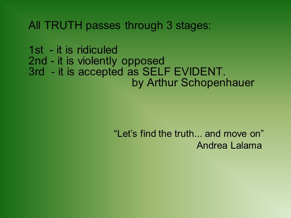 All TRUTH passes through 3 stages: