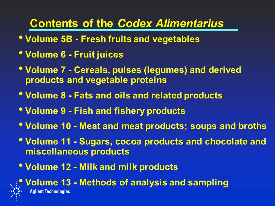 Contents of the Codex Alimentarius