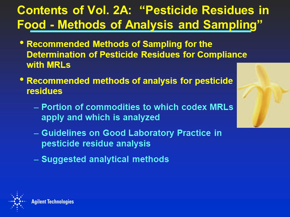 Contents of Vol. 2A: Pesticide Residues in Food - Methods of Analysis and Sampling