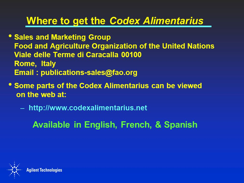 Where to get the Codex Alimentarius