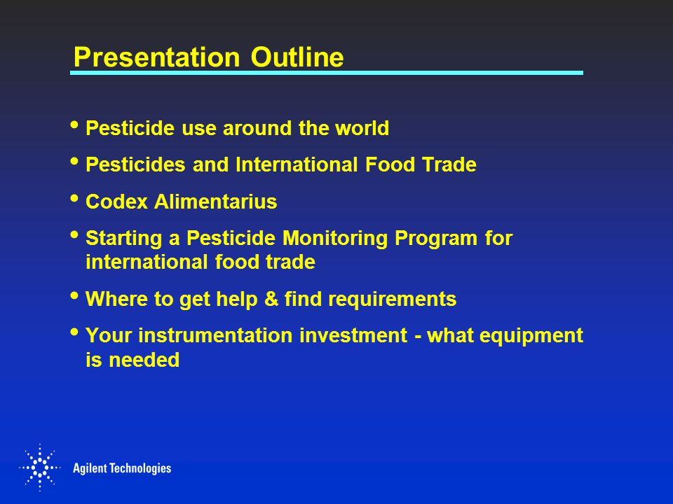 Presentation Outline Pesticide use around the world