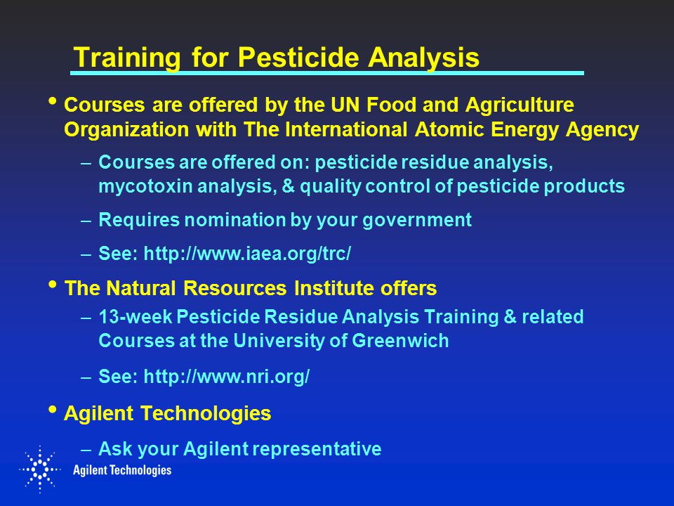 Training for Pesticide Analysis