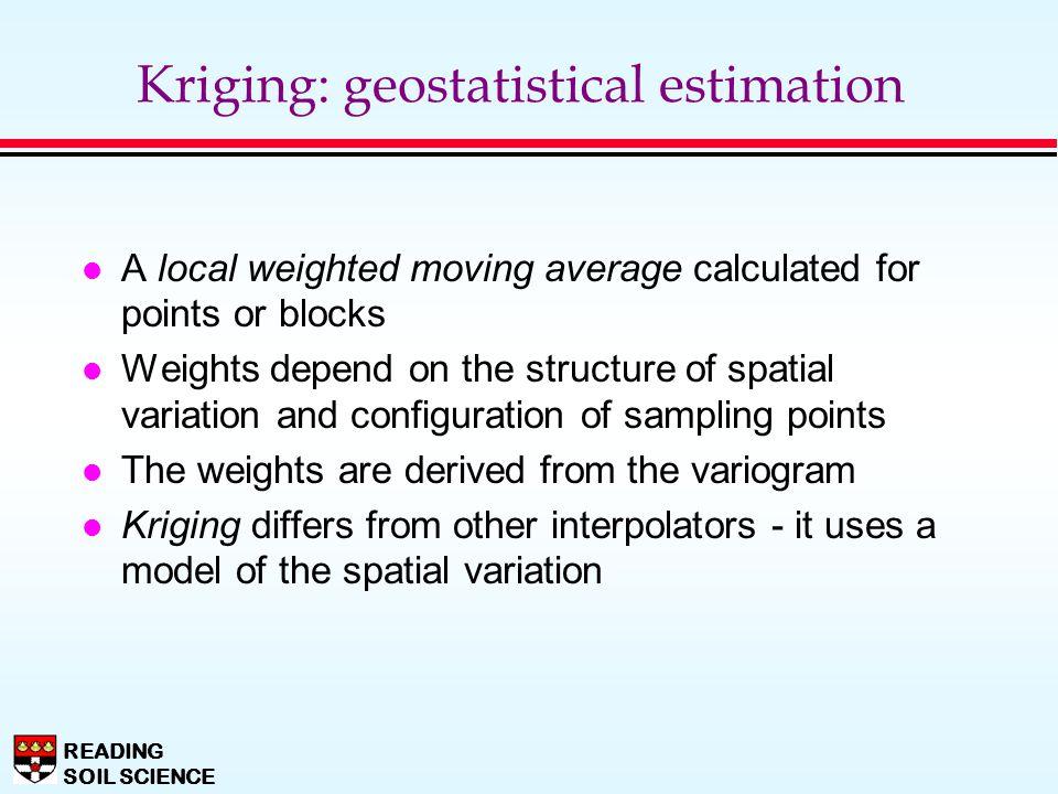 Kriging: geostatistical estimation