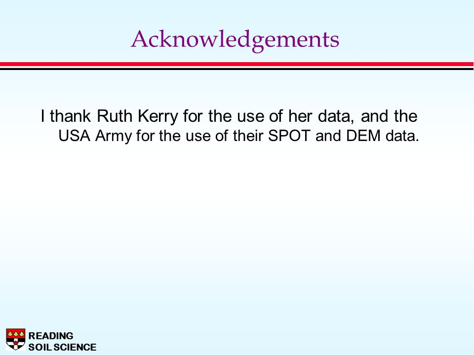 Acknowledgements I thank Ruth Kerry for the use of her data, and the USA Army for the use of their SPOT and DEM data.