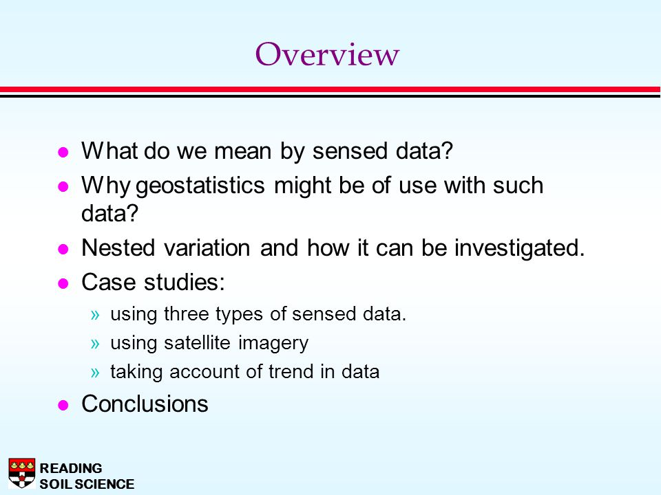 Overview What do we mean by sensed data