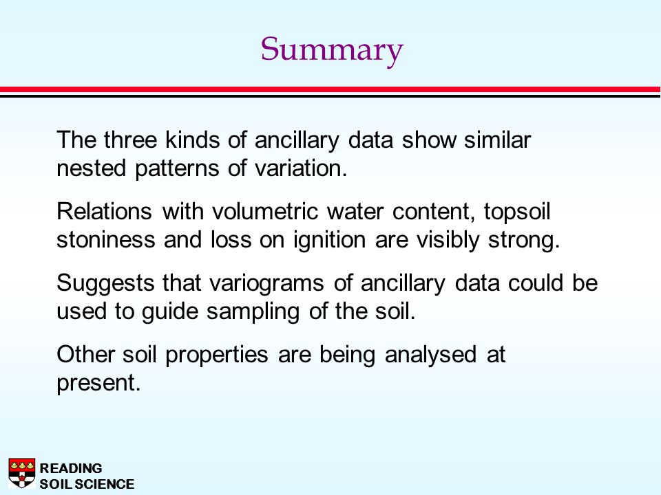 Summary The three kinds of ancillary data show similar nested patterns of variation.