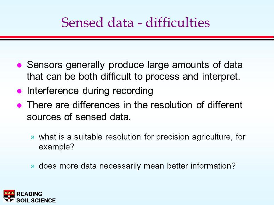 Sensed data - difficulties