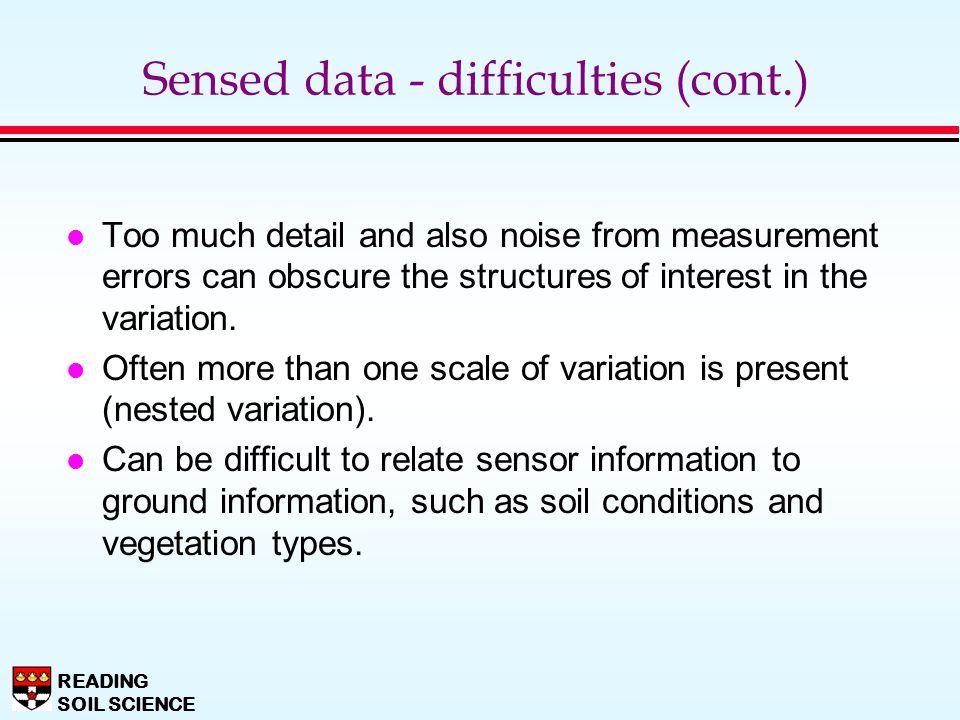 Sensed data - difficulties (cont.)