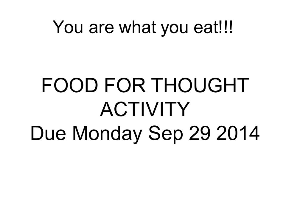 FOOD FOR THOUGHT ACTIVITY