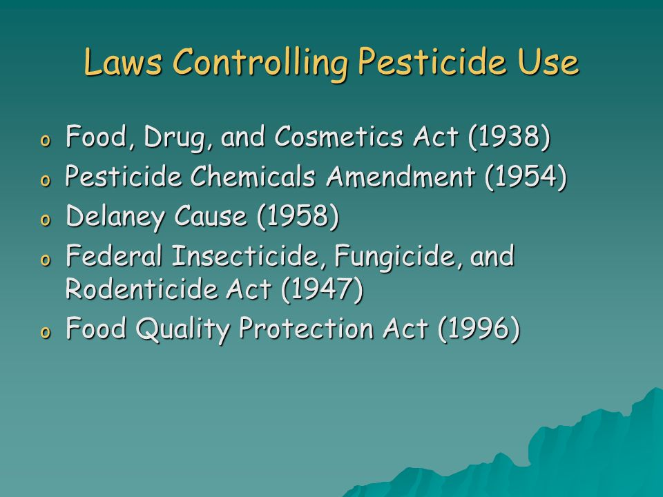 Laws Controlling Pesticide Use