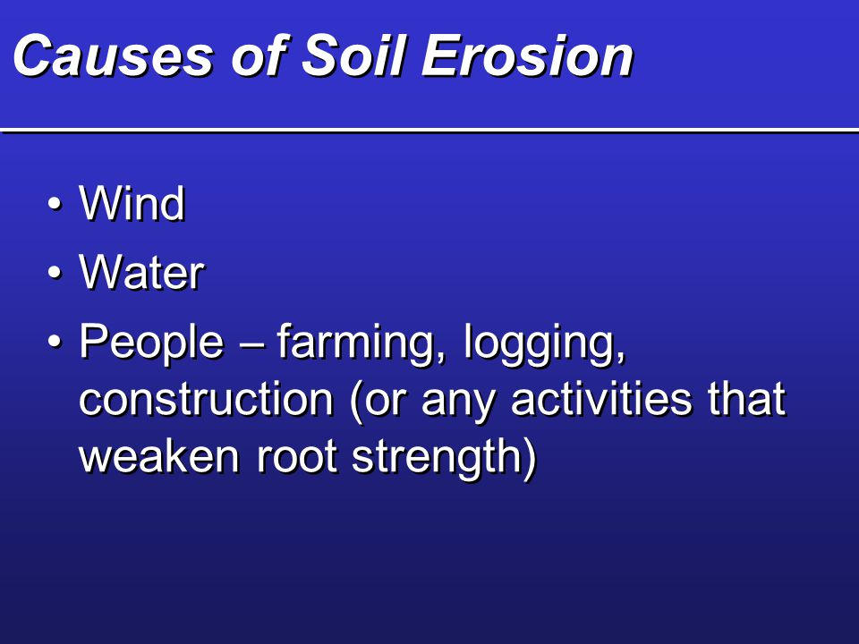 Causes of Soil Erosion Wind Water