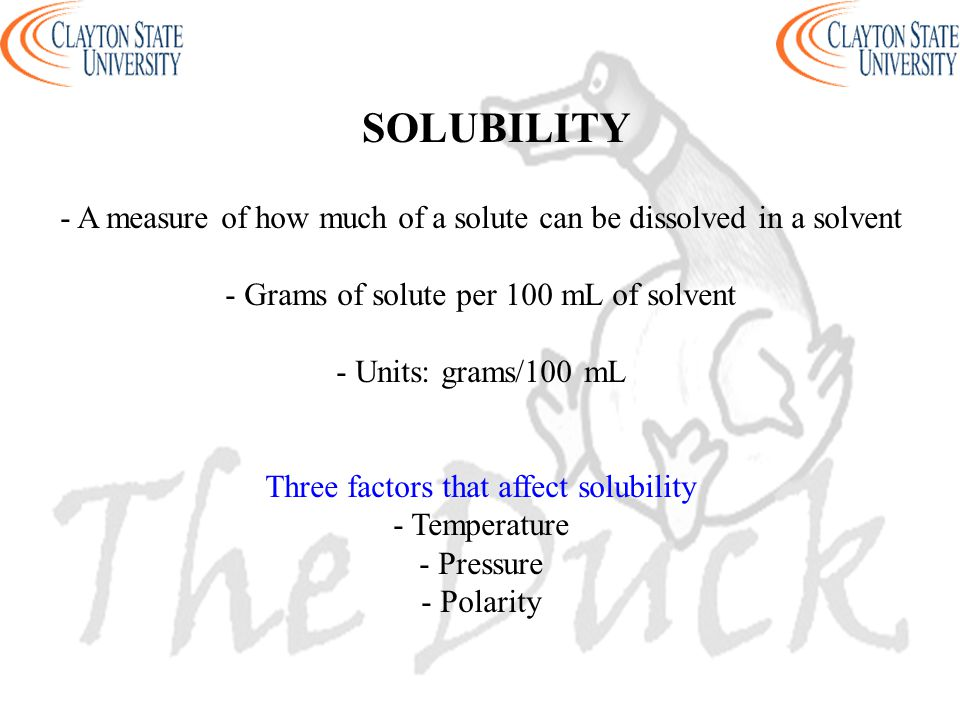 SOLUBILITY - A measure of how much of a solute can be dissolved in a solvent. - Grams of solute per 100 mL of solvent.