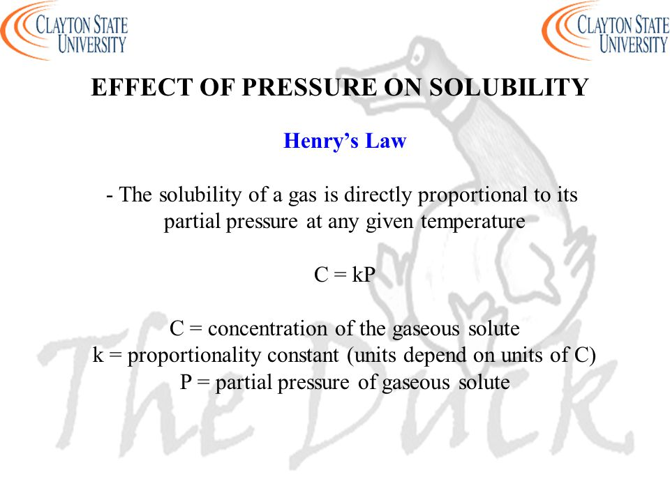 EFFECT OF PRESSURE ON SOLUBILITY