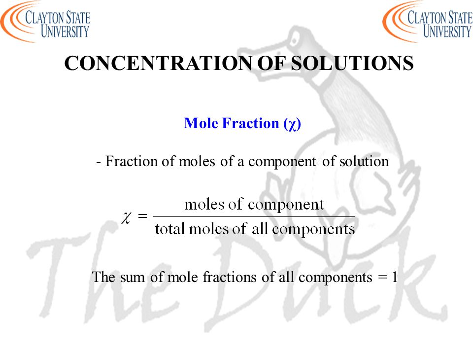 - Fraction of moles of a component of solution