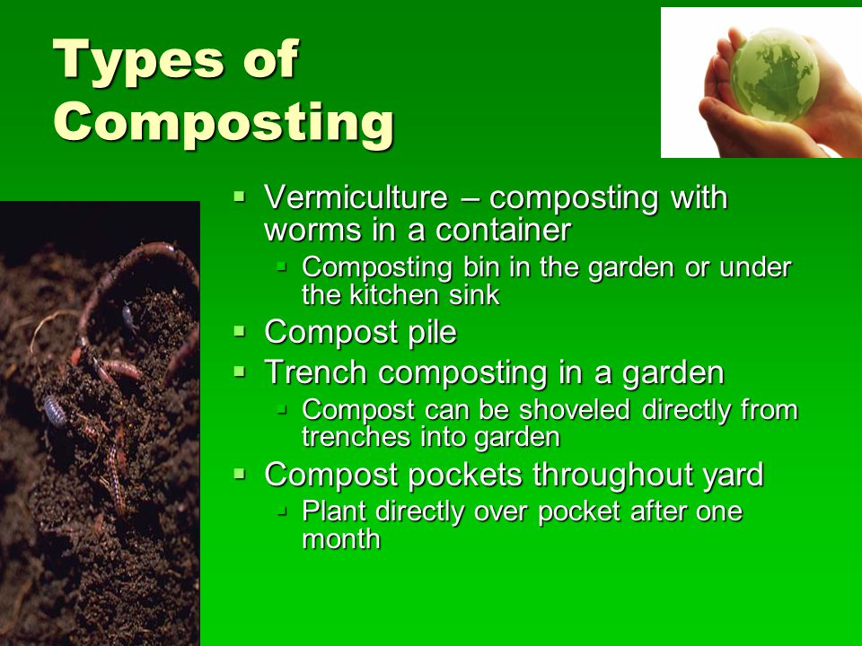 Types of Composting Vermiculture – composting with worms in a container. Composting bin in the garden or under the kitchen sink.