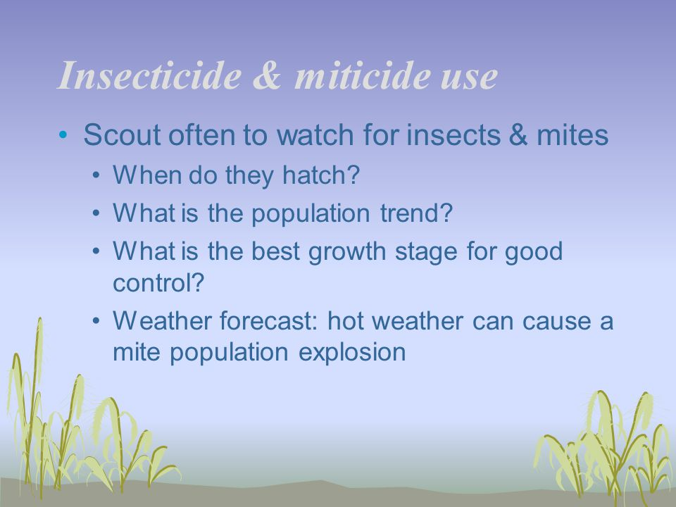 Insecticide & miticide use