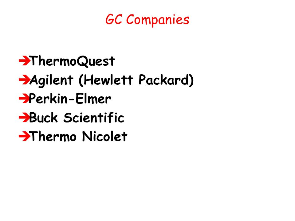 GC Companies ThermoQuest Agilent (Hewlett Packard) Perkin-Elmer Buck Scientific Thermo Nicolet