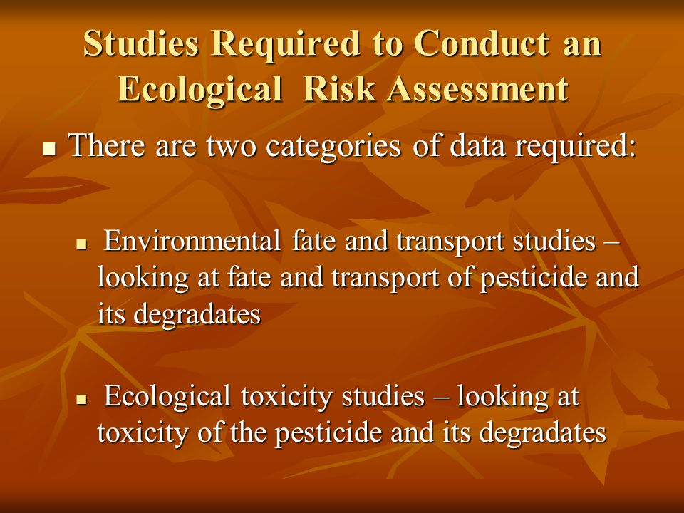 Studies Required to Conduct an Ecological Risk Assessment