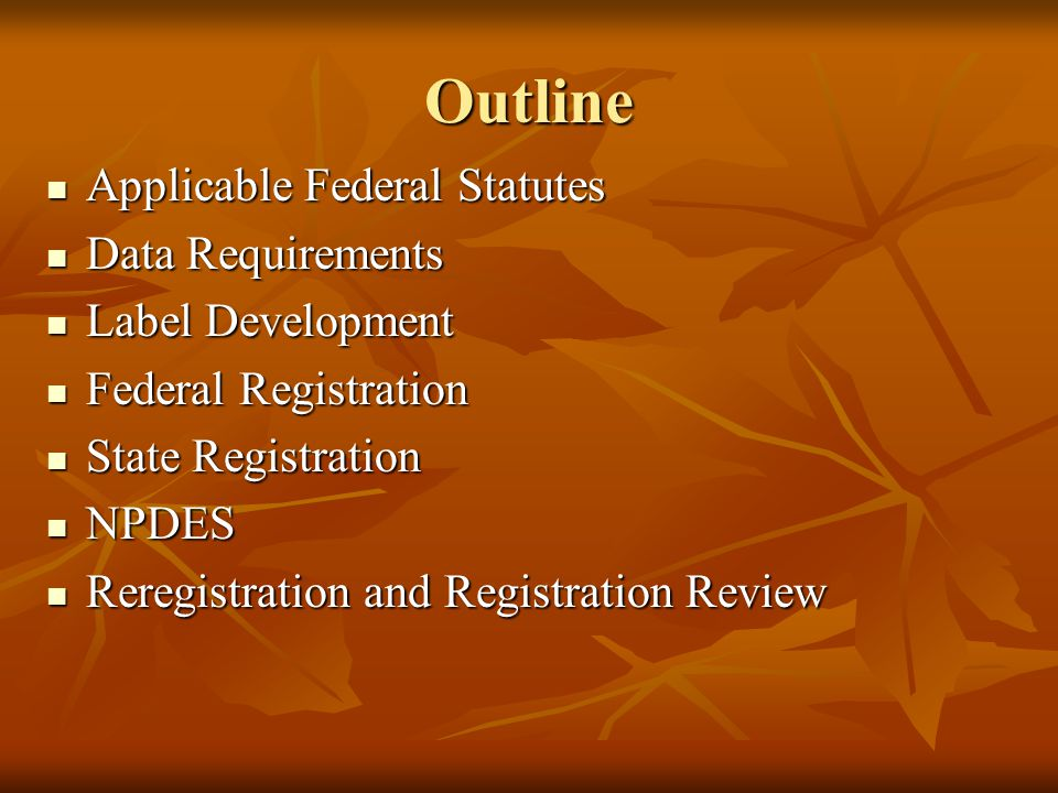 Outline Applicable Federal Statutes Data Requirements