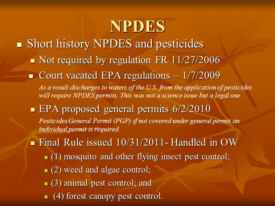 NPDES Short history NPDES and pesticides