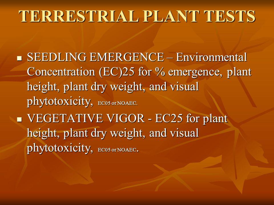 TERRESTRIAL PLANT TESTS
