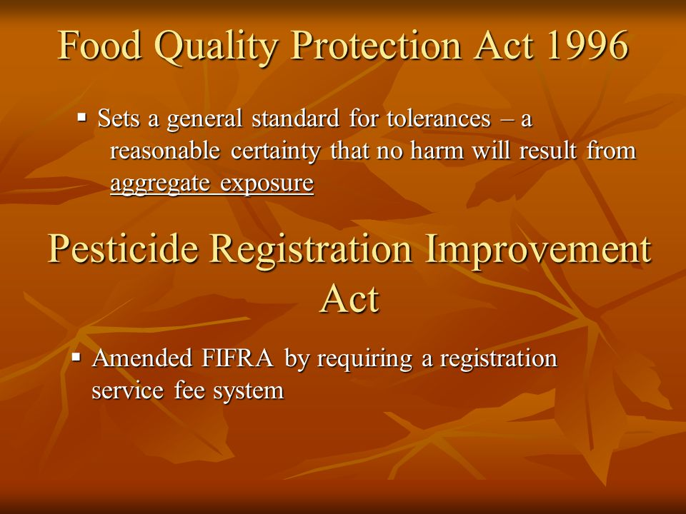 Food Quality Protection Act 1996