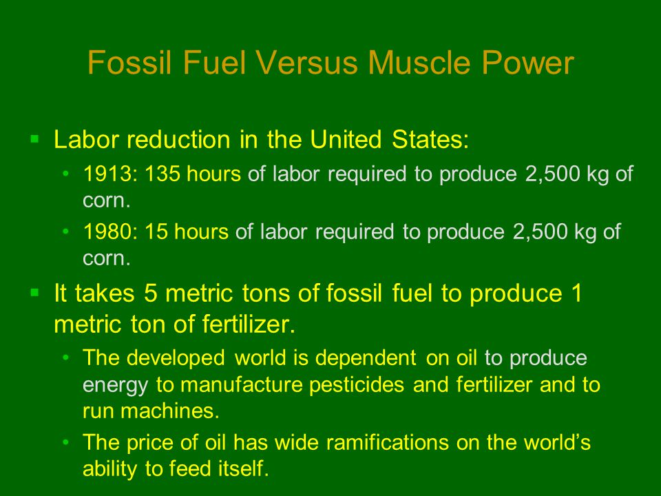 Fossil Fuel Versus Muscle Power