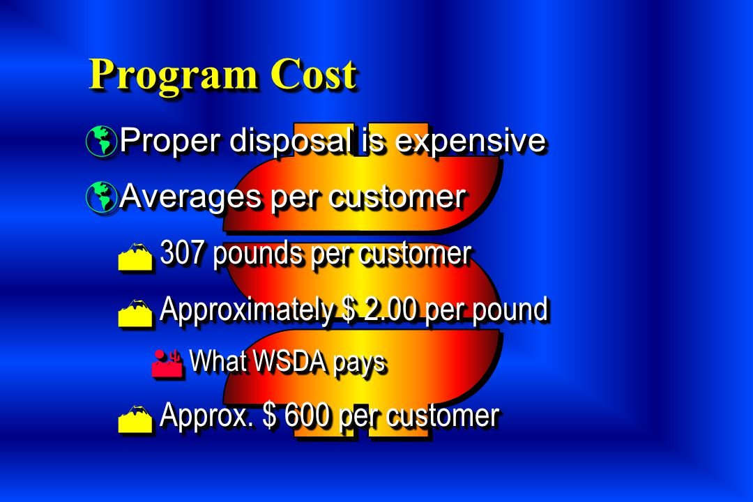 Program Cost Proper disposal is expensive Averages per customer