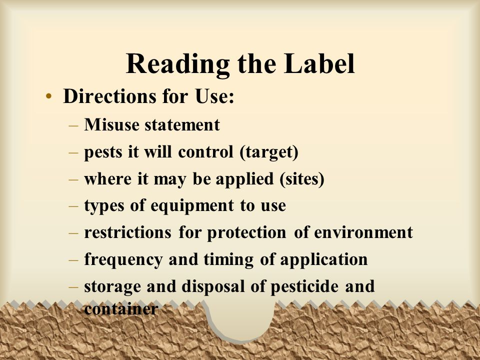 Reading the Label Directions for Use: Misuse statement
