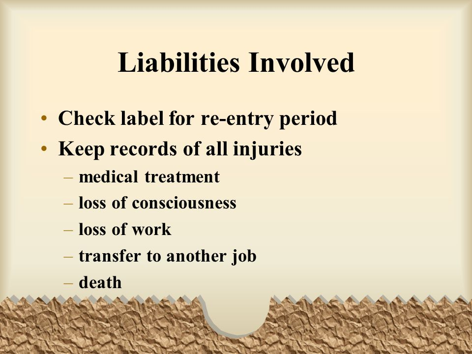 Liabilities Involved Check label for re-entry period