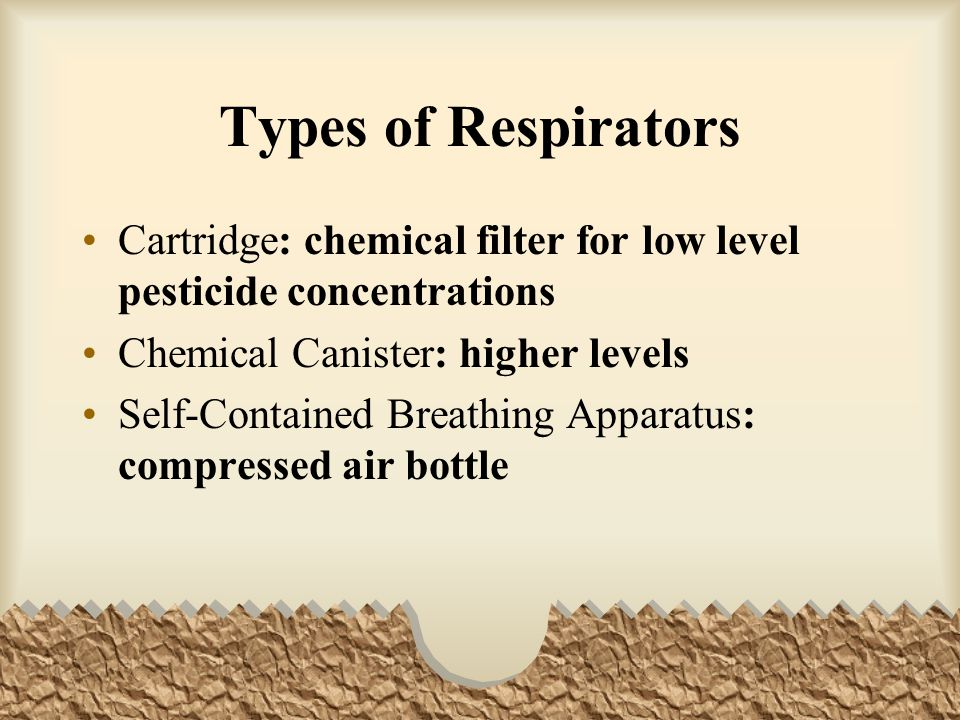 Types of Respirators Cartridge: chemical filter for low level pesticide concentrations. Chemical Canister: higher levels.