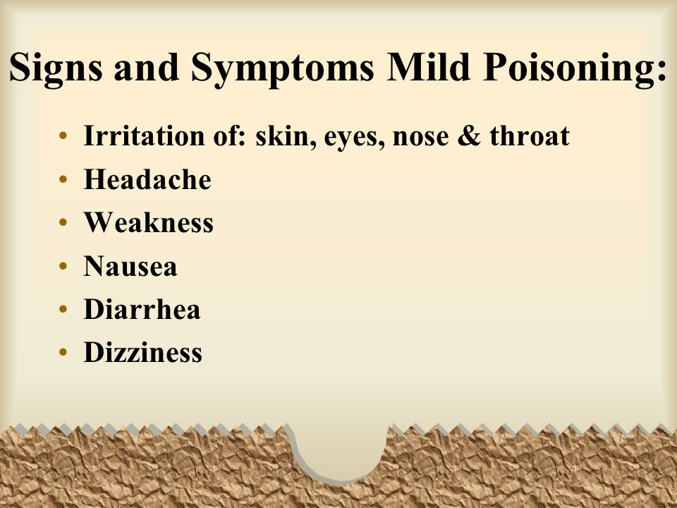 Signs and Symptoms Mild Poisoning: