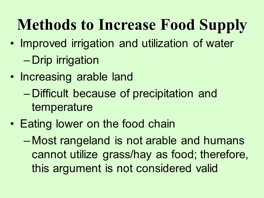 Methods to Increase Food Supply