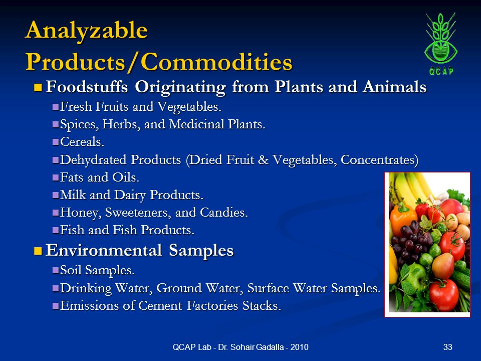 Analyzable Products/Commodities