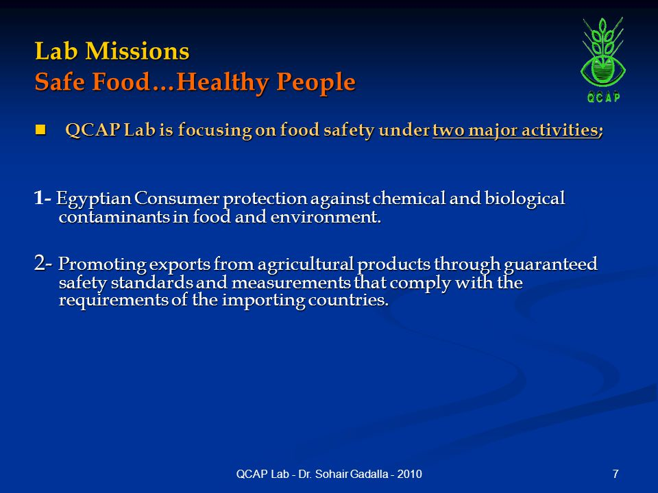 Lab Missions Safe Food…Healthy People