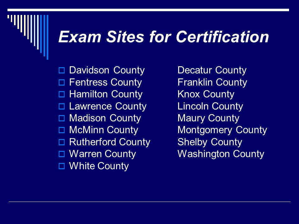Exam Sites for Certification