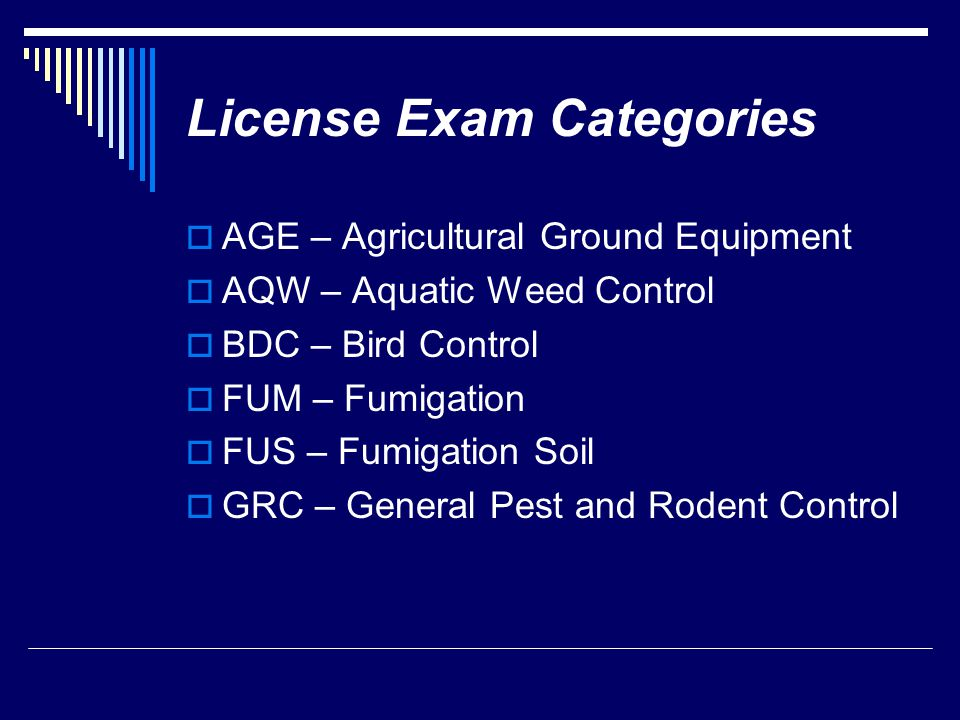 License Exam Categories