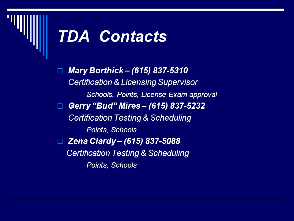 TDA Contacts Mary Borthick – (615) 837-5310